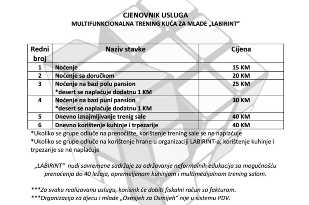 """Cjenovnik usluga Multifunkcionalne trening kuće za mlade """"Labirint"""" Tuzla"""